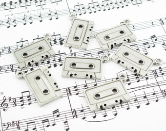 Cassette Charms, Pewter Findings by Accessoires Magiques SKU#PMS0003 QTY:6