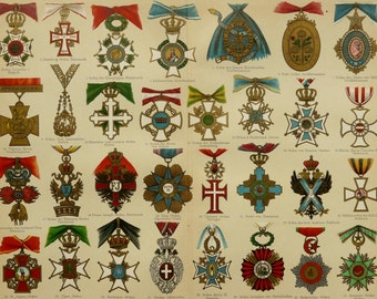 1897 Antique fine lithograph of ORDERS, MEDALS, AWARDS of European Countries. Decorations. Europe. 119 years old nice print