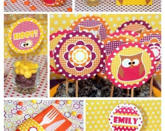 Owl Birthday - Owl Party Printables - Owl Party Decorations - Girl Owl Birthday - Owl Birthday Decorations Package (Instant Download)