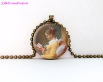 A Young Girl Reading, Jean-Honoré Fragonard, 1 in. 25.4 mm necklace or keychain