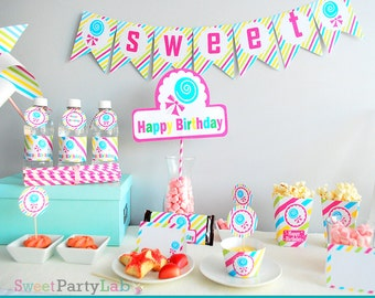 CandyLand Party Set, Printable Birthday Candy Shoppe, Diy Party Package, Full Party Decoration Kit, Instant Download -D007 HBCL1