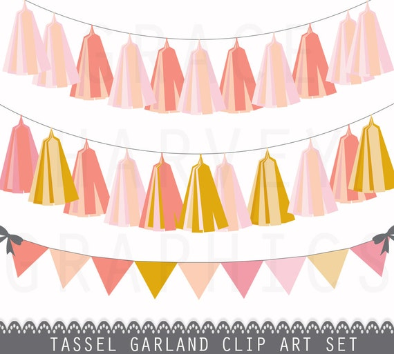 Tassel Garland and Bunting Banner Clip Art, INSTANT ...