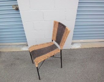 Mid Century Woven Wicker & Wrought Iron Chair