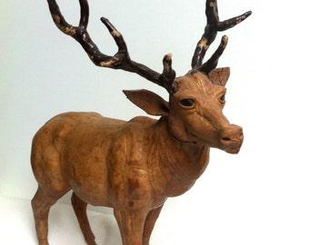 Vintage Handmade Genuine Leather Deer