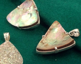 Pale Abalone Shell & Sterling Silver Pendant, free US shipping