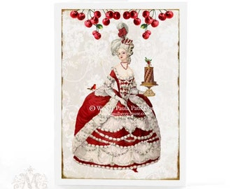 Marie Antoinette, Christmas card, red cherries, Christmas cake, robin, white damask, French, vintage Christmas, holiday card