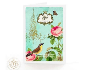 Bird, love card, love who you are,  affirmation, pink rose, Valentines day card, chandelier, butterfly, woodland, blue, birthday card