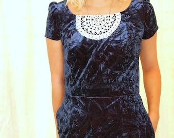 Ritzgerald Dress  MEDIUM-LARGE two tone, navy, stretch, velvet, vintage, crochet doily, rework, one of a kind, handmade, upcycled