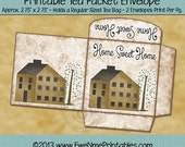 Printable Tea Bag Envelope - Mustard Saltbox and Willow Home Sweet Home - PDF and/or JPG File