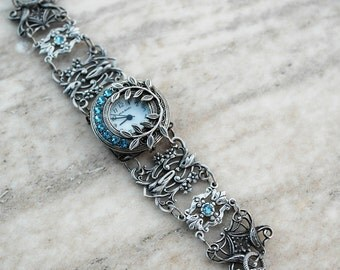 Women's Silver watch Aquamarine bracelet watch Blue watch Gothic watch bracelet victorian bracelet Victorian Gothic jewelry