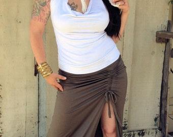 Adjustable Side Cinch Maxi Skirt