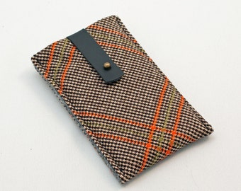 iphone sleeve - brown and orange plaid vintage wool