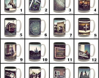 Full Color 15 oz. Ceramic Coffee Mug with original New Orleans photography.  Pick any one. 16 to choose from.