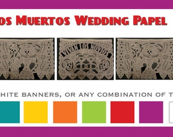 5 pack - Dia de los muertos banner Wedding GarlandVariety images (5) Tissue Paper Papel Picado Day of the Dead Til death do us part