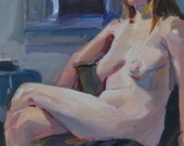 """Sale! Figurative oil painting nude woman portrait """"Lounging Nude"""" Original art by Sarah Sedwick Free Shipping"""