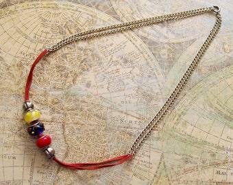 LA MEZCLA - Mixed Materials Necklace in Primary Colors - Cololmbian Ecuadorian Venezuelan Flag