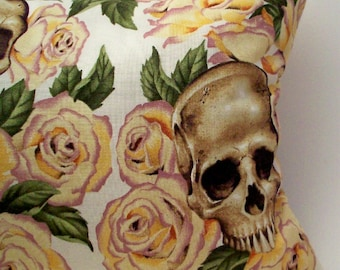 Lavender Buckwheat Throw Pillow - Skulls and Roses Decorative Aromatherapy Pillow - Goth Decor - Lumbar Support Neck Roll - 13 1/2 x 8 1/2""
