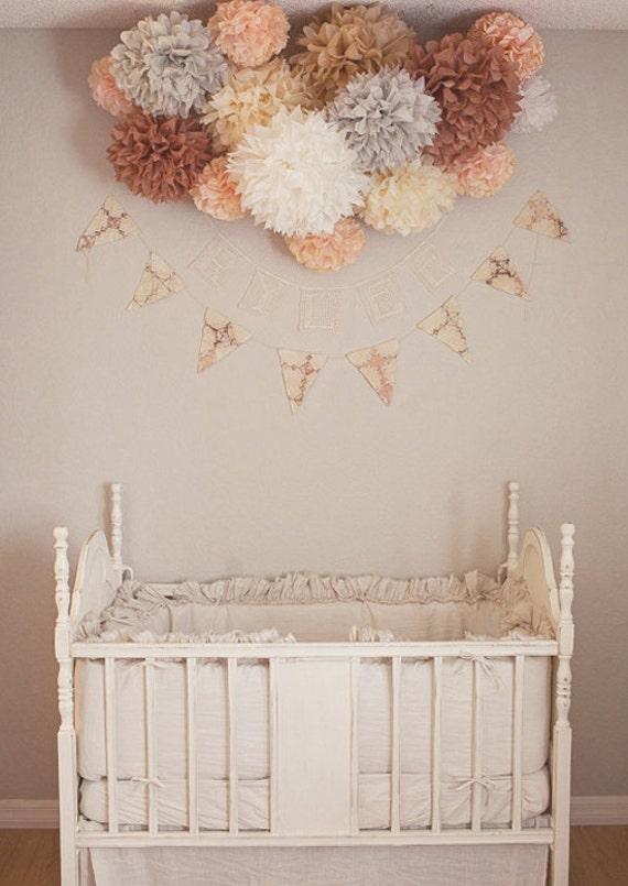 Nursery poms 15 tissue paper pom poms wedding by pomlove for Pom pom room decor