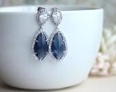 LUX Rhodium Plated Cubic Zirconia Navy Blue Sapphire Blue Dark Blue Teardrop Earrings 925 Ear Post. Bridal Jewelry. Something Blue Wedding