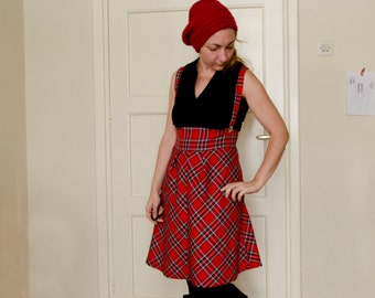 Red Tartan Plaid Skirt High Waisted with Removable Suspenders, Winter Wool Skirt
