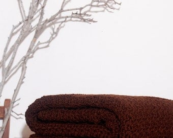 Ready to Ship   Beautiful and Luxuriously Handcrafted CROCHET Blanket Throw DARK CHOCOLATE