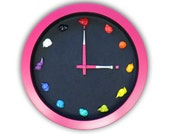 Artist Clock , 3D paint daubs globs - Color Options and CUSTOMIZABLE - art studio, nursery, playroom wall decor or artist painter gift