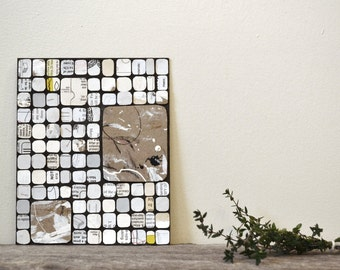 """contemporary abstract collage: """"what remains,"""" original mixed-media artwork"""
