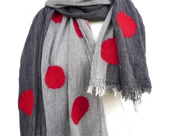 Handmade Scarf, Felt Scarf, Nunofelt Scarf, Scarf with Dots for Women and Men in Black, Blue, Green or Rosé
