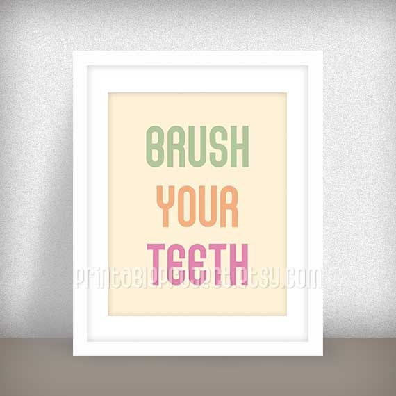 Brush your teeth girls room house rules bathroom decor for Bathroom decor rules
