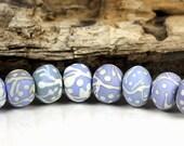 Blue and Ivory Organic Hollow Beads, Handmade Lampwork Artisan Beads