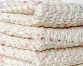 Crocheted Cotton Washcloth - Set Of 3 , Off White Speckeled, Spa, 100% Cotton, Spa, Make Up Removal, Home , Boutique