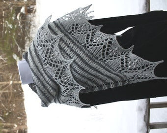 Knitted shawl, lace beaded edge, shades of grey, free shipping to US