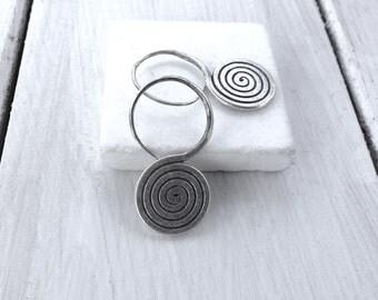 Sterling Silver Spiral Earrings, Greek Jewelry, Flat Spiral Dangle Earrings, Minimalist Infinity Earrings, Spiral Hooks, Gift for Her