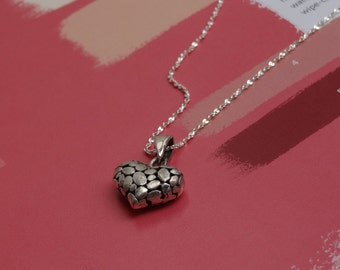 Pebble Heart Pendant Necklace. Sterling Silver, Gift Under 75. Gift For Her. Anniversary Wedding Jewerly Gift. Valentine Gift