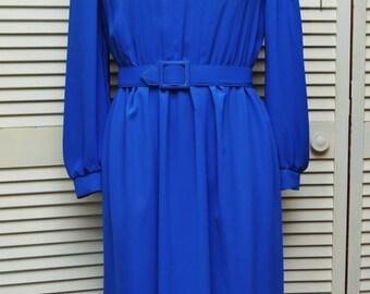 Vintage Womens Dress/Sheer Cobalt Blue/80s Secretary/Geometric Peekaboo Cutout/Cinch Waist Matching Belt/Act II Professional 9 to 5 Business
