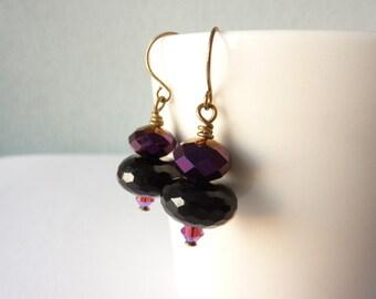 Bead Earrings, Black and Purple,  Glass Beads, Bead Earrings, Cocktail Party Jewellery, UK Earrings