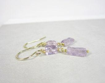 Purple Amethyst Gemstone Earrings - Sterling Silver Earrings - Handmade Earrings - Amethyst Birthstone Jewelry
