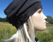 Slouchy Beret Oversized Beanie Leather Trim Hat with Leather Corset Lace Ties Charcoal Gray Women's Slouch Tams A1426