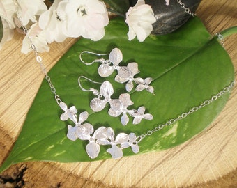 SET Orchid Necklace and Earring, Sterling Silver Chain and Findings, Silver Orchids, Bridesmaid set