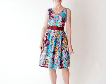 Custom made floral dress, bridesmaid dress, Vintage inspired bridesmaid dress Turquoise Garden  Dress