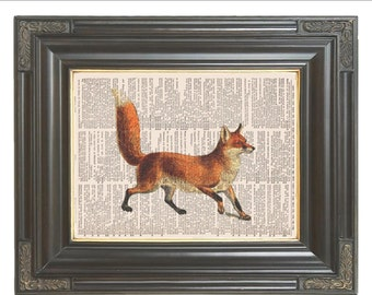 Red fox print on dictionary page Wild animal print Dictionary art print Wall decor Digital print Home decor  Item No 630