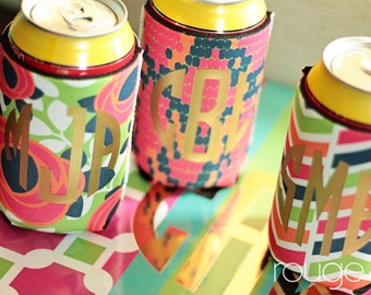 METALLIC beverage insulator with gold or silver foil custom monogram