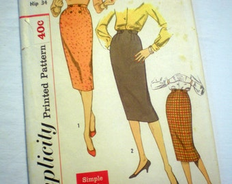 Simplicity 2699 Vintage 50s Slim Tabbed Pencil Skirt Wiggle Bombshell Pin Up Sewing Pattern Waist 25""