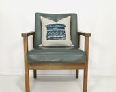 Typewriter decorative throw pillow cover, cushion case, 16x16, Navy blue, grey & beige Ikat Accent - Mid century, industrial, modern decor