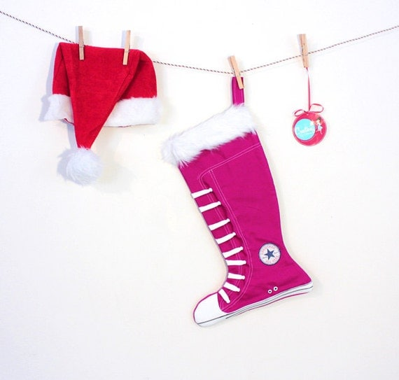 Christmas Stockings: Converse inspired - girl holiday stockings- Hot Pink