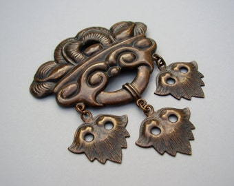 Antique Danish Skønvirke Arts & Crafts Art Nouveau Jugendstil Bronze Brooch Pin Lavaliere Bernhard Hertz Scandinavian Georg Jensen Skonvirke