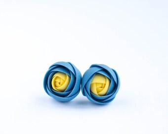 Blue Yellow Ranunculus Ukrainian Stud Earrings Wholesale Small Flower Studs Hypoallergenic Polymer Clay Wedding Bridal Birthday