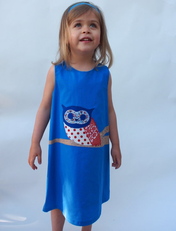 Girls Owl Dress / Red and Blue Owl on Royal Blue Dress /