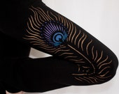Purple Peacock YOGA PANTS, Hand Painted, Gifts for Her
