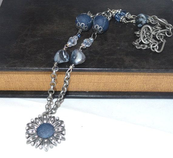 "SALE Denim 'n ""Diamonds""  32""  Necklace ooak Industrial Chic Gifts for Her Under 50, Original Design"